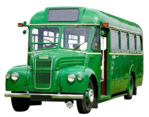 green 1930's truck chassis bus on a white background
