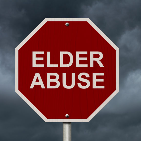 a red stop sign saying elder abuse on it is the slogan of an aggressive Los Angeles elder abuse lawyer