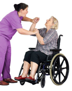 nursing home physical assault attorney will fight for this patient in a wheelchair who is being assaulted by a nurse