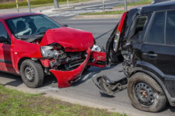 two crashed cars after a rear-end collision