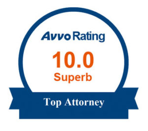 Badge of recognition from AVVO 10.0 rating