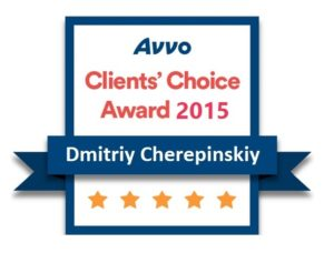 Badge of recognition from AVVO clients' choice award 2015 for Dmitriy Cherepinskiy