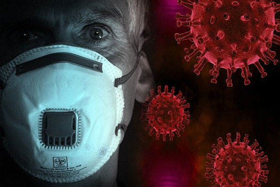 image of COVID-19 virus under microscope and elderly man in a face mask