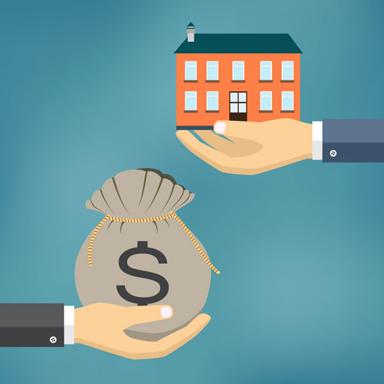 two hands exchanging a house for money that symbolize the concept of contract consideration