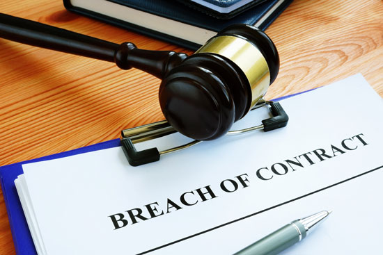 a gavel and a breach of contract file of Los Angeles breach of contract attorney