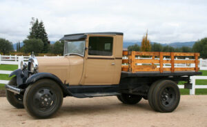restored 1930's truck parked and on display