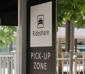 rideshare pickup zone which is a familiar sight for the Uber accident lawyer Los Angeles passengers count on